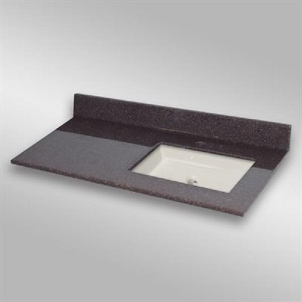 49 pox 22 po Dessus de meuble-lavabo avec bassin carré, espresso