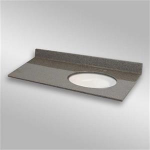 49 pox 22 po Dessus de meuble-lavabo ovale sous-monté, pierre carioca