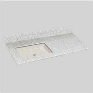 49 pox 22 po Dessus de meuble-lavabo avec bassin sous-monté, brume de willow