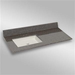 49 pox 22 po Dessus de meuble-lavabo carré, pierre carioca