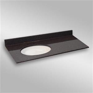49 pox 22 po Dessus de meuble-lavabo ovale sous-monté, espresso