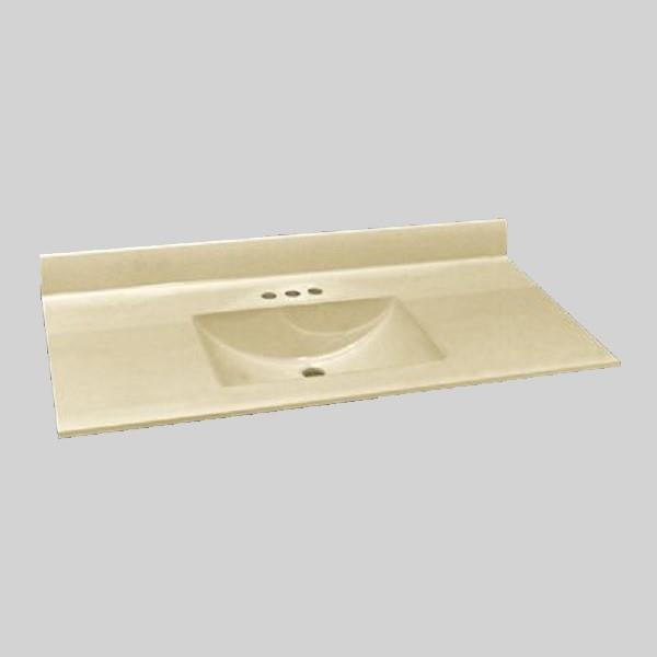 The Marble Factory 49-in x 22-in Bathroom Vanity Top with Integral Sink - Solid Bone