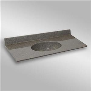 49 pox 22 po Dessus de meuble-lavabo avec bassin integral, pierre carioca