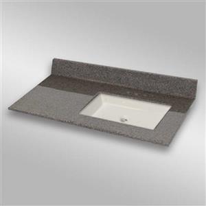 37 pox 22 po Dessus de meuble-lavabo avec bassin integral, pierre carioca