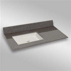 37 pox 22 po Dessus de meuble-lavabo avec bassin sous-monté, pierre carioca