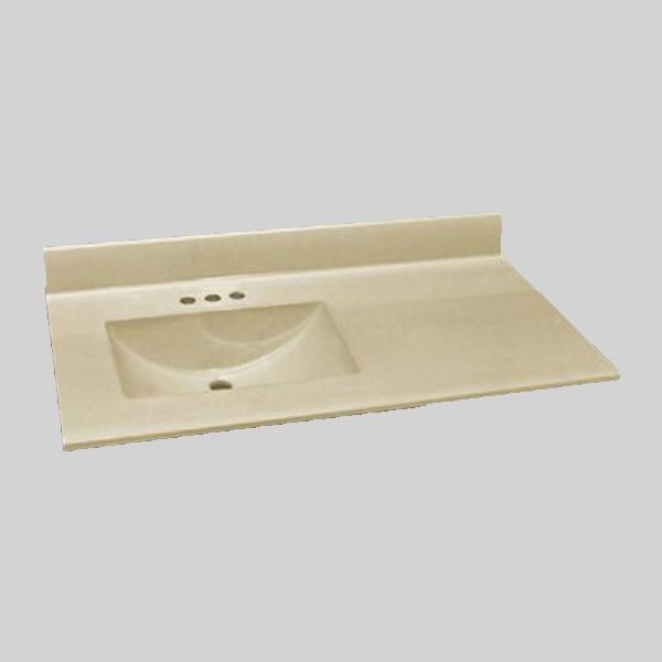 37 pox 22 po Dessus de meuble-lavabo avec bassin integral, os solide