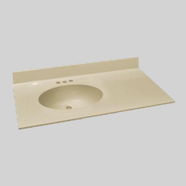 The Marble Factory 37-in x 22-in Bathroom Vanity Top with Integral Sink - Solid Bone