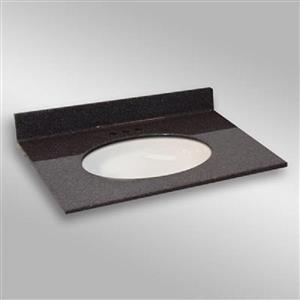 The Marble Factory 37-in x 22-in Bathroom Vanity Top with Oval Sink - Espresso