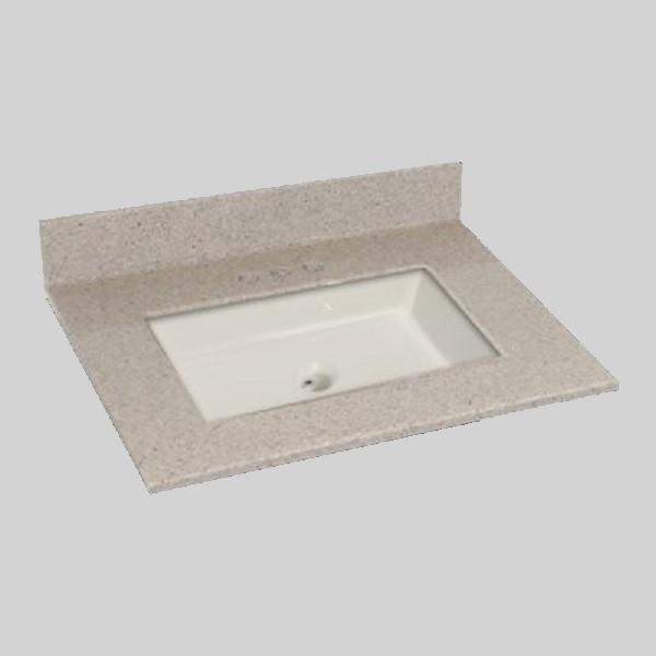 The Marble Factory 31-in x 22-in Bathroom Vanity Top with Square Sink - Irish Cream