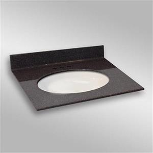 The Marble Factory 31-in x 22-in Bathroom Vanity Top with Oval Sink - Espresso