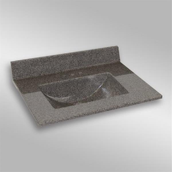 31 pox 22 po Dessus de meuble-lavabo avec bassin integral, pierre carioca