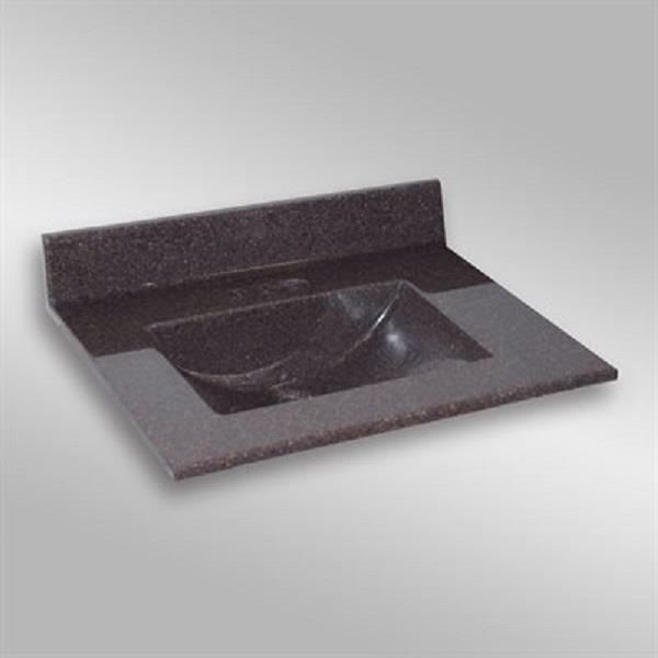 The Marble Factory 31-in x 22-in Bathroom Vanity Top with Integral Sink - Espresso