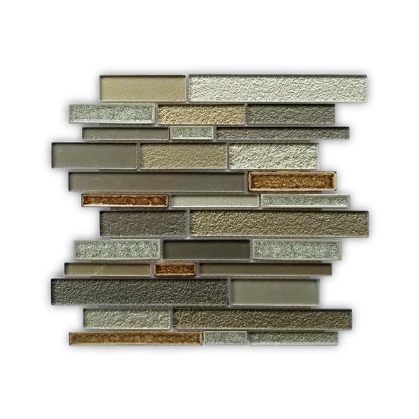 JL Tile Randomstrip Glass Tile - Grey/Beige - 5/Box - 12-in x 12-in