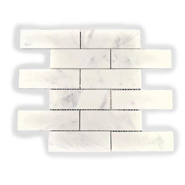 JL Tile Subway Marble Wall Tile - White - 5/Box -12-in x 12-in