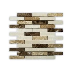 "Mosaïque de marbre, motif de brique, brun/beige, 12"" x 12"""