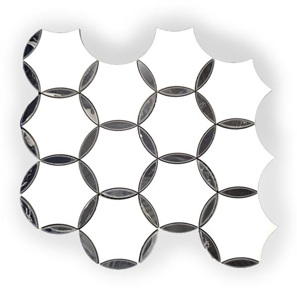 JL Tile Marble Mosaic - White and Black Round Pattern - 9.5-in x 11.5-in