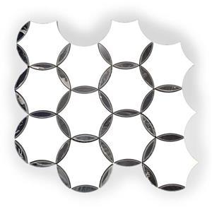 """Mosaïque de marbre, motif circulaire blanc/noir, 9.5""""x 11.5"""""""