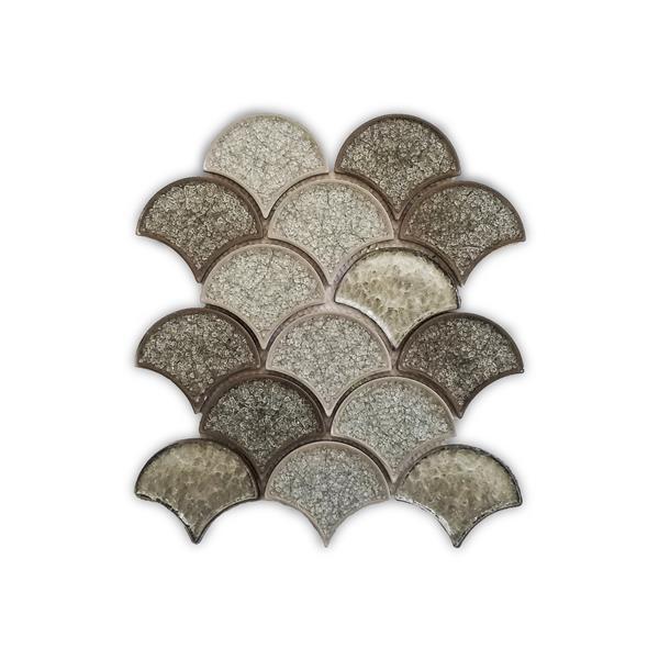 JL Tile Mosaic Glass Tile - Grey Waterfall Pattern-10-inx11-in