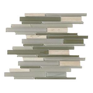 """Mosaïque murale de verre/pierre, gris, 5/boîte, 12"""" x 12"""""""