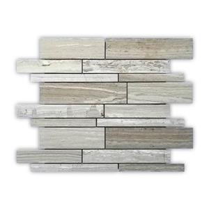 """Mosaïque de marbre/pierre, motif de brique, beige, 12"""" x 14"""""""