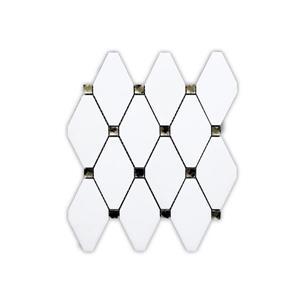"""Tuile de marbre, losanges blancs, 5/boîte, 10.5"""" x 11.5"""""""