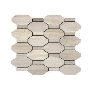 """Mosaïque de marbre, motif octoganal beige, 5/boîte, 11""""x 12"""""""