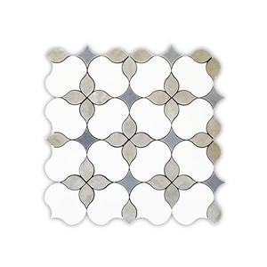 Marble Tile - Carnation/Floral Pattern - White - 13.5