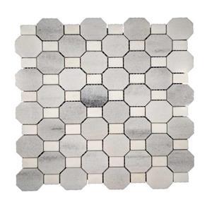 """Mosaïque de marbre, motif octogonal blanc/gris, 12"""" x 12"""""""