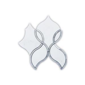 """Tuile de marbre, mosaïque d'oeillet, blanc, 5/boîte, 8"""" x 9"""""""
