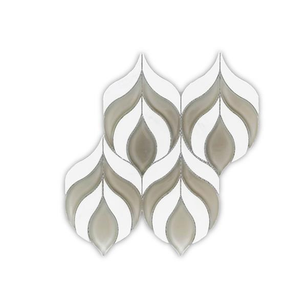 JL Tile Blooming Flower Marble Tile - Grey/White - 5/Box - 10-inx10.5-in