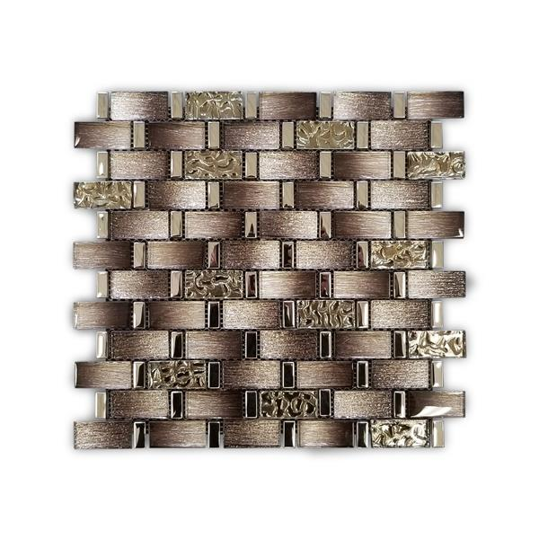 JL Tile Glass and Stainless Steel Mosaic Tile - Brown - 12-in x 12-in