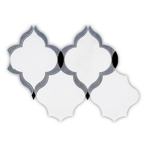 "Tuile de marbre, arabesque blanche, 5/boîte, 10"" x 15"""