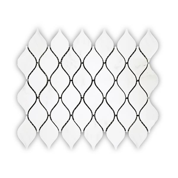 JL Tile Marble Tile - White Waterdrop Pattern - 5/Box -10.8-in x 13.6-in