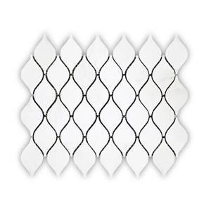 """Tuile de marbre, motif de goutte d'eau, blanc, 10"""" x 13.6"""""""