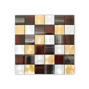 """Mosaïque murale de verre/acier inoxydable, cuivre, 12"""" x 12"""""""