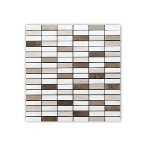 """Tuile de marbre, blanc et brun, 5/boîte, 12"""" x 12"""""""