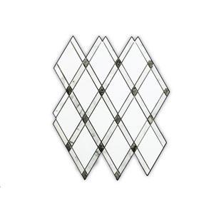 """Tuile de marbre, motif de losange, blanc, 5/boîte, 11"""" x 12"""""""