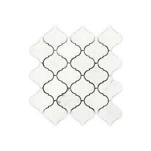 """Tuile de marbre, mosaïque arabesque blanche, 10"""" x 10"""""""