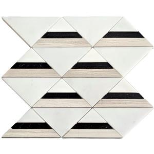 Triangle Marble Mosaic Tile - Black/White/Beige - 12