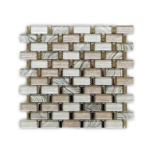 Glass and Stainless Steel Mosaic Tile - Beige - 12