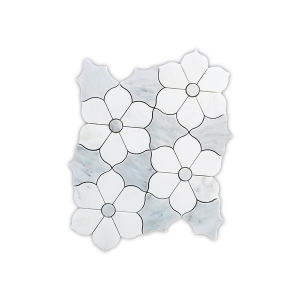 JL Tile Floral Marble Tile - White and Grey - 5/Box - 10-in x 11-in