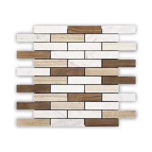 """Mosaïque de marbre, motif de brique, blanc/beige, 12"""" x 12"""""""