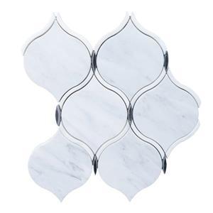 """Tuile de marbre, arabesque grise, 5/boîte, 9"""" x 10"""""""