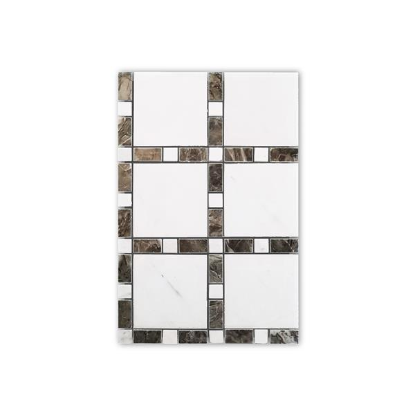 JL Tile Marble Mosaic - Square Pattern - White/Beige - 12-in x 12-in