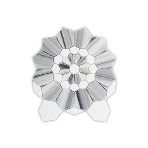 "Mosaïque de marbre Thassos, blanc/gris, 5/boîte, 10"" x 12"""