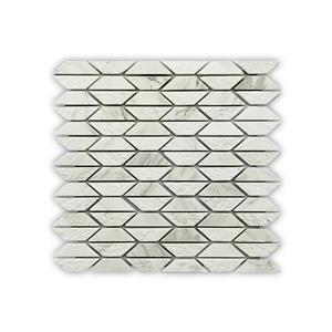 "Mosaïque de marbre blanc, motif de trapèze, 10.9"" x 11.1"""