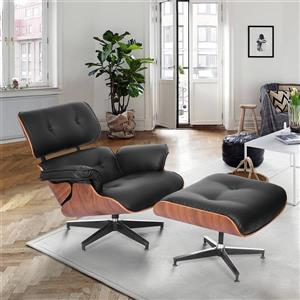 FurnitureR Relax Chair with Ottoman KERN - Black Faux Leather