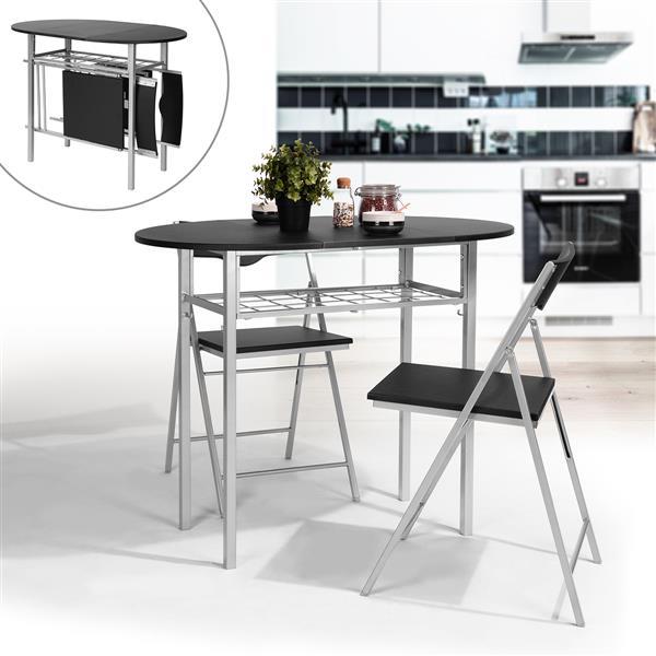 Ensemble table et chaises pour déjeuner, noir/argent, 3 pc