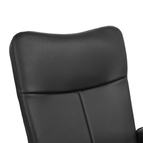 FurnitureR Base Recliner and Ottoman Set Marquez - Black Faux Leather