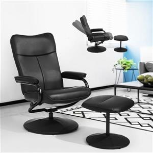FurnitureR Base Recliner and Ottoman Set Marquez - Black Faux Leather